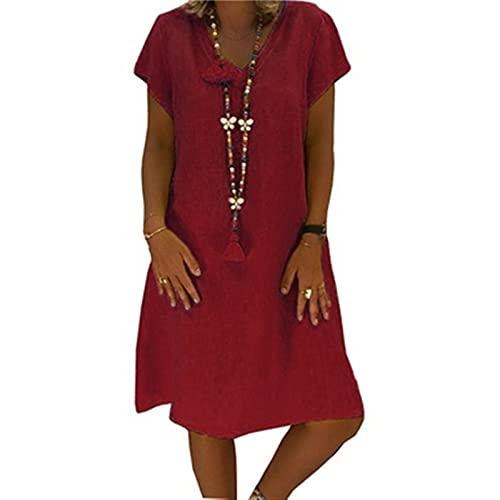 SKYWPOJU Sukienki lniane damskie letnie sukienki plażowe z dekoltem w szpic Jednolity kolor sukienka z linii Boho sukienka do kolan (Color : Red, Size : XX-Large)