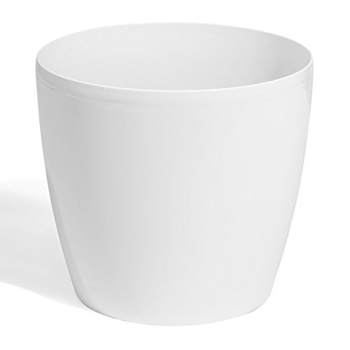 Grote, witte, ronde Coubi-kunststof bloempot, maat 4XL - 55 liter, 7 kleuren