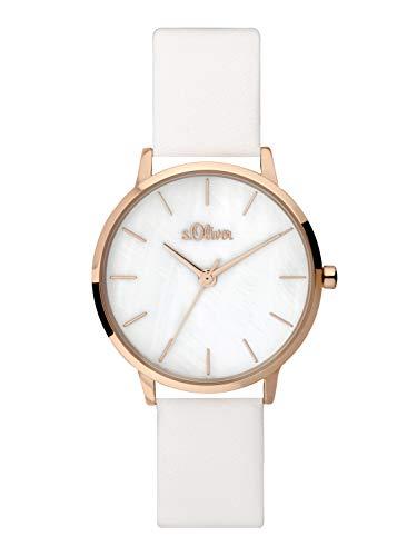 s.Oliver Damen Analog Quarz Uhr mit Leder Armband SO-3703-LQ
