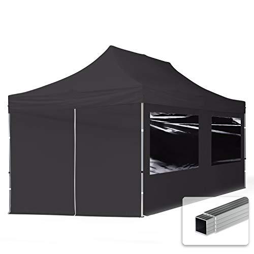 TOOLPORT Faltpavillon Faltzelt 3x6m - 4 Seitenteile 32mm ALU Pavillon Partyzelt PES300 100% WASSERDICHT schwarz