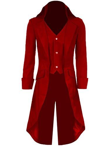 Qian Qian Herren Vintage Frack Jacke Gothic Steampunk Viktorianischen Mantel Karneval Vampir Kostüm Smoking Jacke Uniform, Rot