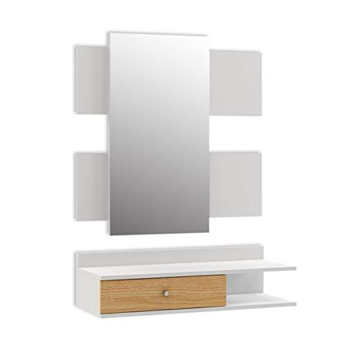 Mc Haus VALKO - Recibidor con Espejo diseño Nórdico de madera MDF color blanco, Mueble recibidor para colgar en la Pared con cajón de almacenamiento funcional 75x30x95cm