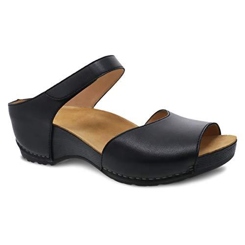 Dansko Women's Tracy Black Burnished Calf Sandals 9.5-10 M US