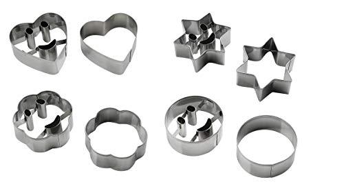 Zenker 42892 Lot de 2 Smiley/Fleur/cœur/étoile, emporte-pièces, découpe-pâtes, Acier Inoxydable, Argenté, 6 cm