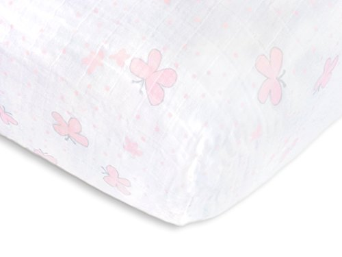 SwaddleDesigns Cotton Muslin Fitted Crib Sheet/Toddler Sheet, Pastel Pink Butterflies