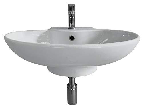 Lavabo Mural a Pared suspendido o Sobreencimera para Mueble de baño o encimera Irta de Porcelana Ceramica Blanca con Orificio para Grifo y rebosadero de 62x45x19