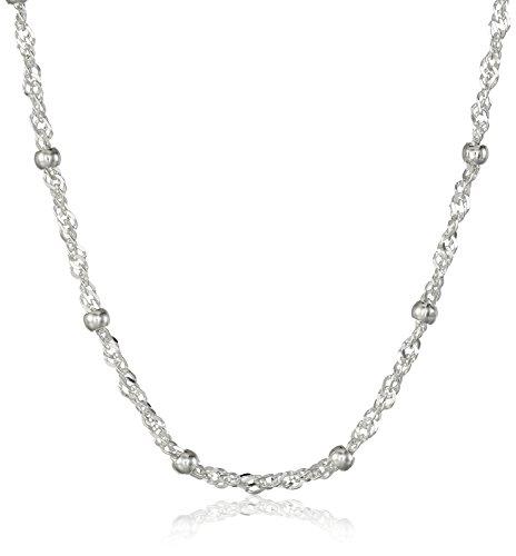 Amazon Essentials Sterl Collar de plata con cadena de cuentas de Singapur White20'