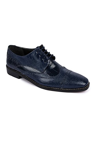 Liberty Fortune Exotic Leather Mens Classic Oxford Dress Shoe 8.5 Navy Blue