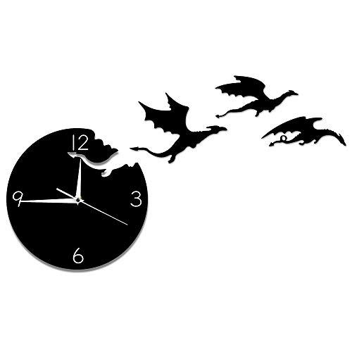 XCJX LED(12 inches) Magie fliegend wütend Fantasie Drachen Wanduhr abstrakte gotische Märchen Drachen Wandkunst Quarz analoge ruhige dekorative Wanduhr