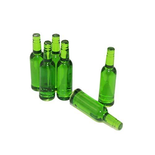 Vektenxi 6 Stücke Puppenhaus Miniatur Bierflasche Esszimmer Getränke Simulation Küche Spielzeug Geschenk-Grün Hohe Qualität