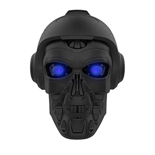 LED Skull Head Shape Speakers, DORNLAT Portable Wireless Bluetooth Speaker with Mic, Cool Creative Art Design Super Bass Stereo Speaker for Halloween, Party, Travel, Outdoor, Home Decor