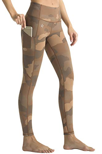FITTIN Camo Printed Yoga Leggings for Women with Pocket - Ankle Length Pattern Pants for Running Sports Fitness Workout Gym Beige Medium