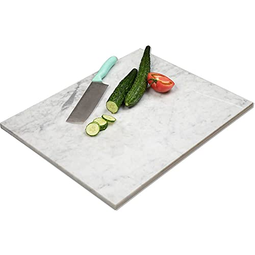 Diflart Natural Marble Pastry White Cheese And Cutting Serving Board 16x20x4/5 Inch Carrara Bianco Christmas Gift