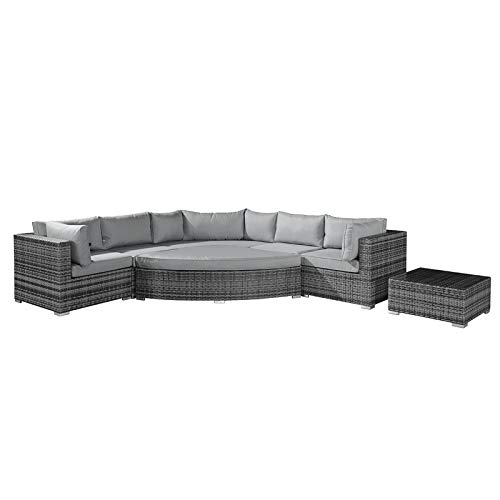Nova Rattan Garden Furniture Deluxe Hampton Outdoor Corner Sofa Set in Grey