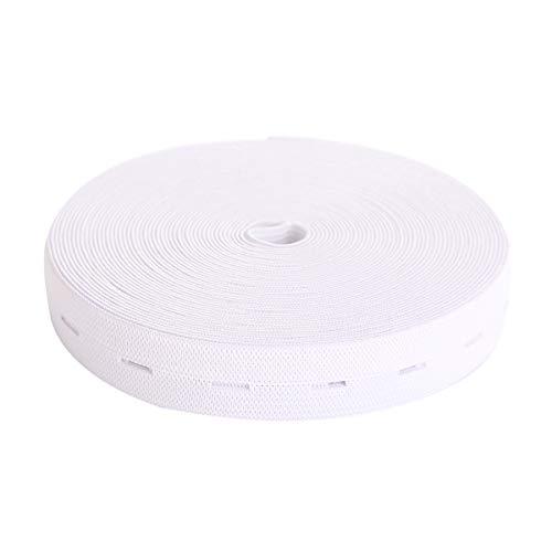 MYUREN 3/5 Inch by 10 Yard White Buttonhole Knit Stretch Elastic Bands Spool Flat Elastic Belt