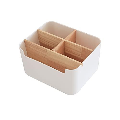 Organizador Escritorio Caja, Organizador Escritorio Multiusos, Organizador Escritorio Bambú, Compartimentos de Almacenamiento de Madera, Caja de Almacenamiento para Mando a Distancia (Blanco)