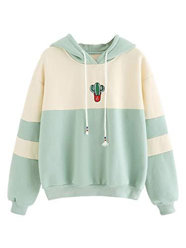 SweatyRocks Women's Long Sleeve Colorblock Pullover Fleece Hoodie Sweatshirt Top Light Green Beige M