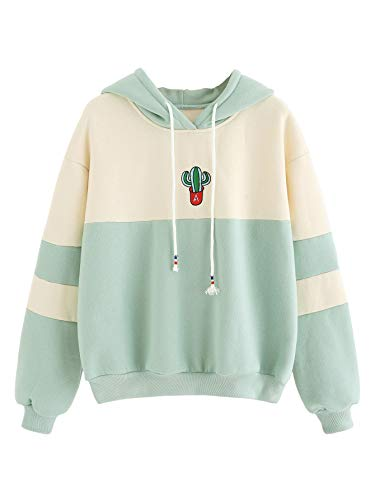 SweatyRocks Womens Long Sleeve Colorblock Pullover Fleece Hoodie Sweatshirt Tops Light Green Beige S