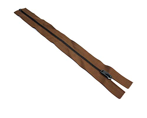 Artefizio Fermeture éclair en métal séparable, sept longueurs, largeur 8 mm, bande de couleur marron 100% coton, chaîne couleur bronze doré vieilli, fabriquée en Italie (54 cm)