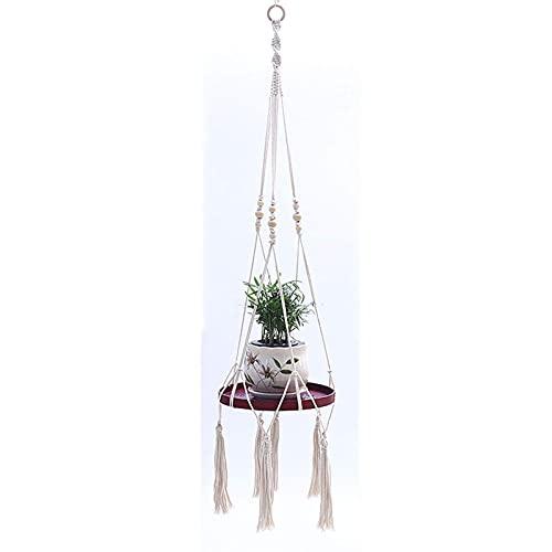 Colgador de macramé para plantas – Soporte decorativo para macetas de interior con hermosos recortes de flores – Bohemia decoración del hogar