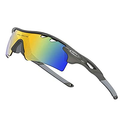 WOOLIKE Sports Sunglasses Driving Glasses Shades for Men Women Interchangeable 5 Lens Sunglasses for Cycling Baseball 801 (Grey)