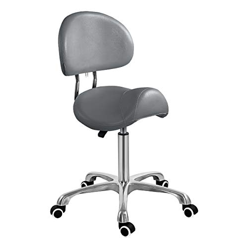 Saddle Stool Chair with Back Ergonomic Rolling Esthetician Seat for Salon Tattoo Shop Spa Home Dentist Clinic (with Backrest, Grey)