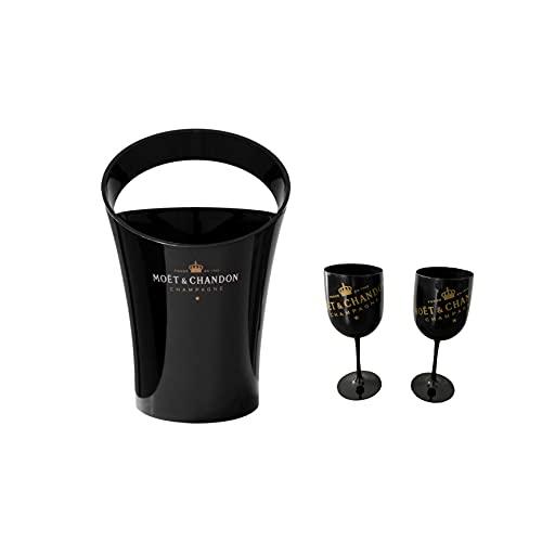 Moet Chandon Champagner Gläser und Champagner Kühler schwarz/gold Set Weinglas Weinkühler