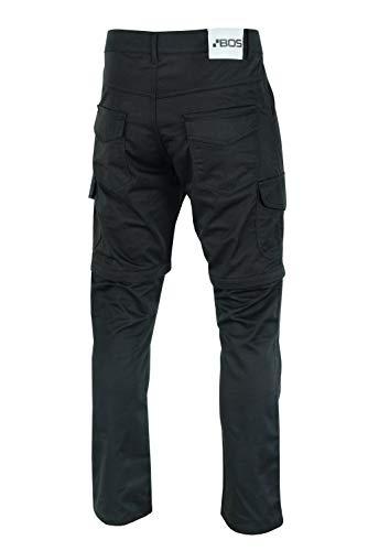 BOSMOTO Sportliche Motorrad Hose Motorradhose Schwarz mit Oberschenkeltaschen Twill Jeans mit eingewebter Aramide Schicht- CARGO (W40)