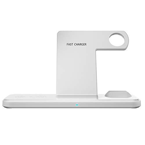 FDSJKD 15W Cargador inalámbrico Dual Seat QI Qi para teléfono Celular Estación DCOK de Carga rápida para el Cargador de WTACH para el teléfono Celular por (Color : White)