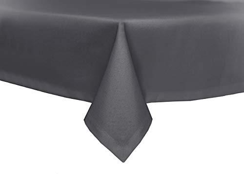 TextilDepot24 - Mantel para mesa de jardín, imitación de lino, antimanchas, repele el agua, no necesita planchado, gris oscuro, 110 x 160 cm