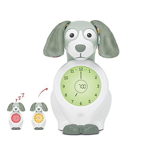 ZAZU - Réveil ludique Davy le chien - Accompagnateur de sommeil et veilleuse - Réveil lumineux pour enfants - Apprend aux enfants quand il est l'heure de se lever - Vert