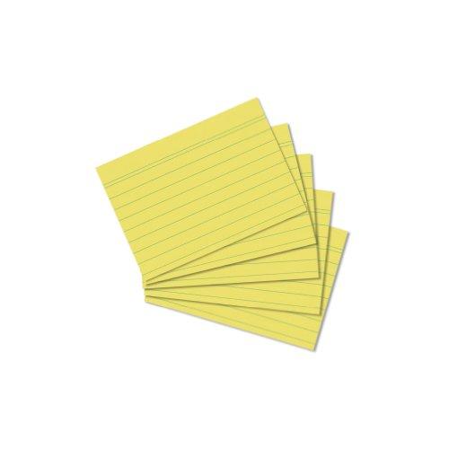 Herlitz 10836328 Karteikarte A8 liniert, 100 Stück, gelb