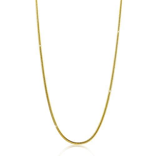 Orovi Damen Schlangenkette Halskette 14 Karat (585) GelbGold Schlange kette Goldkette 0,9mm breit 45cm lange
