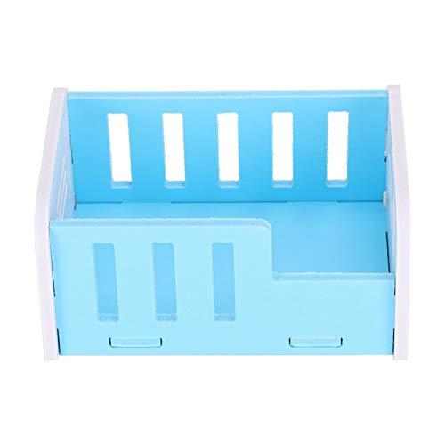 Cuque Cama para hámster de Madera con Plataforma, Cama para Dormir de tamaño pequeño, Cama para Dormir para hámster, Chinchillas, Mascotas pequeñas para hámster(Blue)