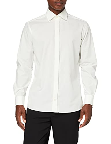 BlueBlack Herren Slim Fit Smoking Hemd mit Bogen Valentino, Gr. Kragenweite: 41 cm, Elfenbein (cremefarben 50)