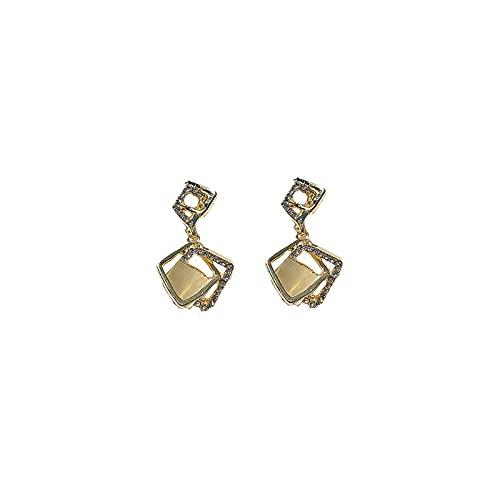 Aguja de plata 925 Pendientes de diamantes de ojo de gato geométricos europeos y americanos Pendientes de temperamento de todo fósforo Pendientes