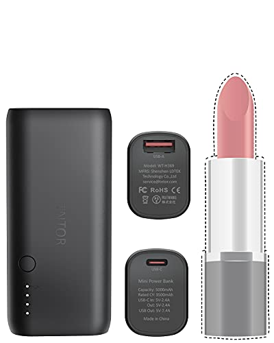 TNTOR - Ultra Mini Powerbank, Dual Output 5000mAh Externer Akku mit USB C Input Output - Schwarz