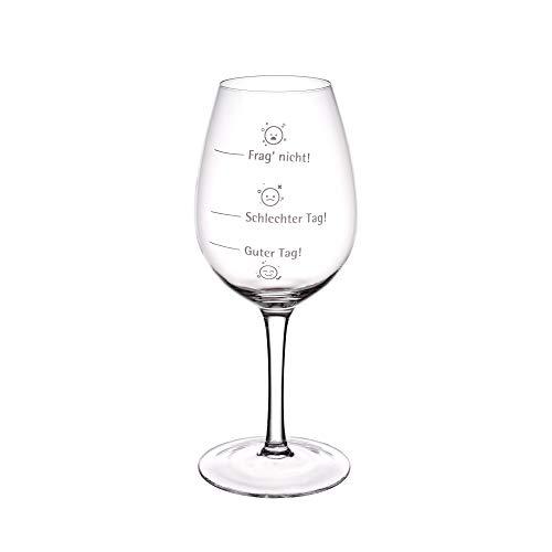 GRÄWE Rotweinglas Frag Nicht, 440 ml, Glas mit Aufdruck, Weißweinglas