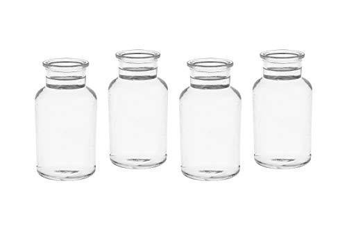 casavetro 10 x kleine Vasen Milk-rund 250 ml H 12,5 cm kleine Glas-vasen Deko-Flaschen Fläschchen Apotheker