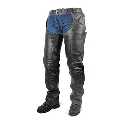 Vance All Season Black Zip-out Insulated Pants Style Biker Leather Motorcycle Chaps (S)