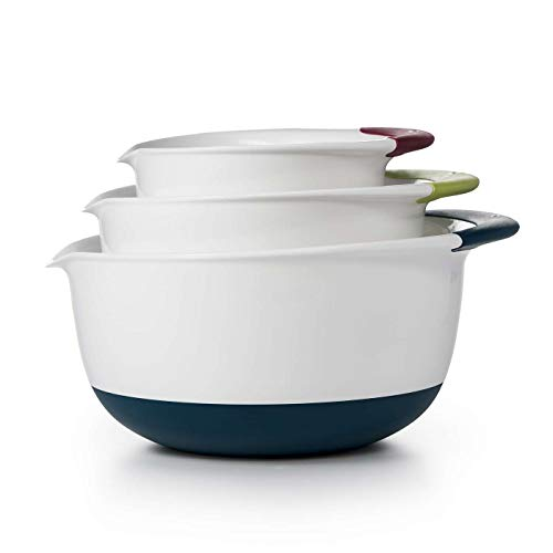 OXO Good Grips 3-Piece Mixing Set, White Bowls with Red/Green/Blue Handles