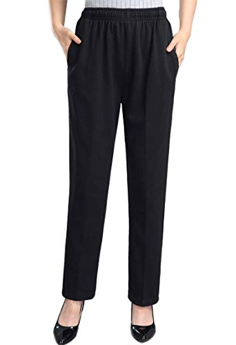 Soojun Womens Stretch Knit Pants Pull On Pants with Elastic Waist, Black, 12P