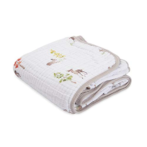 """Little Unicorn – Oh Deer Cotton Muslin Quilt Blanket   100% Cotton   Super Soft  Babies and Toddlers   Large 47"""" x 47""""   Machine Washable"""