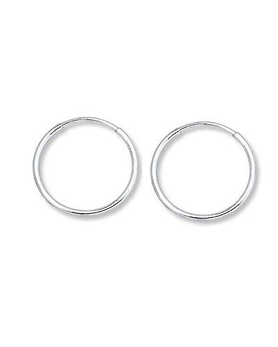 iJewelry2, Orecchini a cerchietto in oro bianco da 14 ct, cerchio rotondo continuo, 10 mm