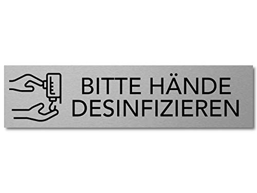 Interluxe Türschild Bitte Hände desinfizieren 200x50x3mm, Schild aus Aluminium, selbstklebend und wiederablösbar für Toilette, WC, Waschraum oder Waschbecken