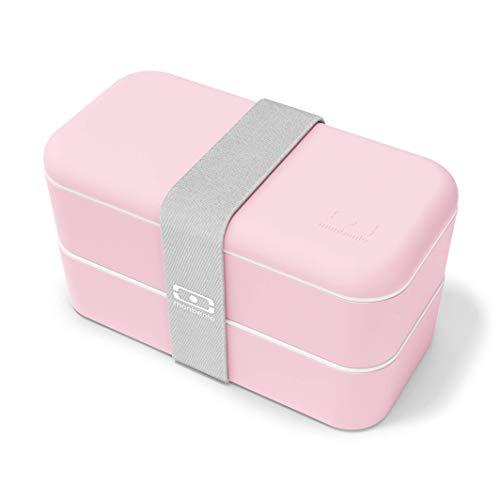 monbento - MB Original Rosa Litchi bento Box Made in France - Lunch Box con contenitori ermetici 2 Livelli - Porta Pranzo Ideale per Ufficio/Scuola/Meal Prep - Senza BPA - Passa al microonde
