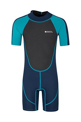 Mountain Warehouse Junior kurzer Kinder-Neoprenanzug -Körper: 2.5mm, Sommer-Nasstaucheranzug, Leichtlauf-Reißverschluss, Flachnähte, Verstellbarer Nacken Blaugrün 13 Jahre