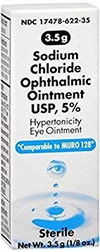 Akorn Sodium Chloride 5% Ophthalmic Ointment 3. 5 gm (Pack of 2)
