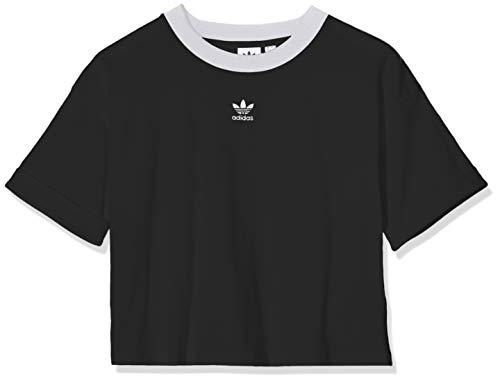 adidas Crop Top, Canottiera Sportiva Donna, Black/White, 46