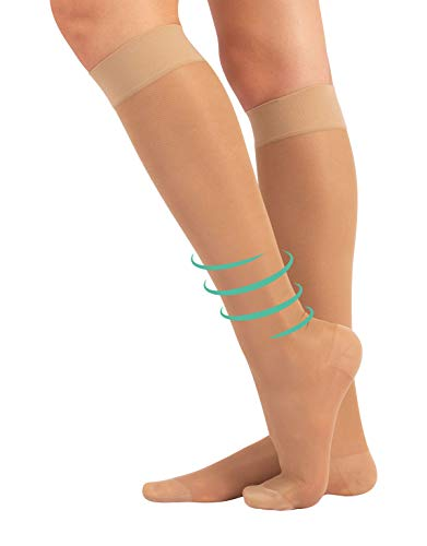 CALCETINES MEDICOS | MEDIAS HASTA LA RODILLA A COMPRESIÓN GRADUADA MEDIA | 70 DEN 10-14mm/Hg | CALCETERÍA ITALIANA | (L/XL, NATURAL)